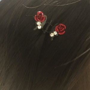 🌹 🦋 Mini Butterfly Rose Hair Clips 2pcs